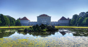 Landscape of Nymphenburg, view from pond royalty free stock images