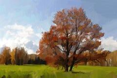 Landscape with oak Stock Image