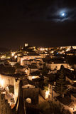 Landscape Obidos, Portugal. Night scene with long exposure of medieval obidos light by moon. Blurred clouds.City Wall Stock Photos