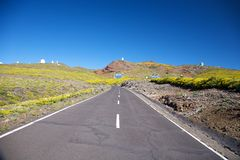 Landscape of observatories at La Palma Royalty Free Stock Photos