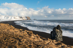 Landscape with Ocean and Reynisfjall mount in winter, Iceland Stock Photography