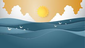 Landscape of Ocean water wave with sun, cloudscape and flying seagulls paper cut style. Summer background concepts for poster, banner template, flyer vector illustration