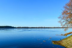 Autumn landscape. Landscape in octobet with blue sky and river stock photos