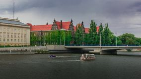 Landscape of Odra River and National Museum, Wroclaw, Poland. stock photo