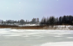 Landscape Of Cold, Snowy Day In January. Stock Photos