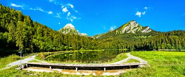 Free Landscape Of Obersee Lake In Swiss Alps Stock Photo - 215284800