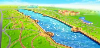 Landscape Of Recreational Area Near The River Stock Photos