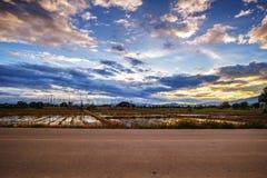 Free Landscape Of Rural Road At Dusk Stock Image - 95371501