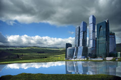Landscape Of Skyscrapers In The Open Field Stock Photography