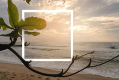 Free Landscape Of Tropical Beach Nature With White Paper Frame Stock Photos - 96436873