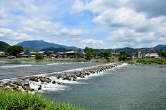 Landscape of Oi River. In Arashiyama at Kyoto, Japan Stock Photo
