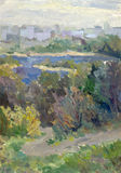 Landscape oil. City park road leading to the river Royalty Free Stock Images