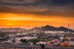 Landscape of Oil and Gas Refinery Manufacturing Plant., Petrochemical or Chemical Distillation Process Buildings., Factory of. Power and Energy Industrial at stock photography