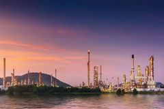 Landscape of oil and gas refinery manufacturing plant., Petrochemical or chemical distillation process buildings., Factory of. Power and energy industrial at royalty free stock photos