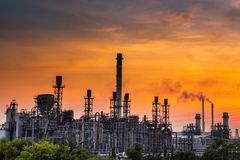 Landscape of Oil and Gas Refinery Manufacturing Plant., Petrochemical or Chemical Distillation Process Buildings., Factory of. Power and Energy Industrial at royalty free stock image
