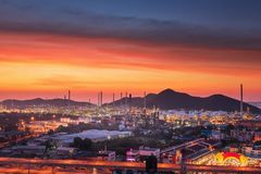 Landscape of Oil and Gas Refinery Manufacturing Plant., Petrochemical or Chemical Distillation Process Buildings., Factory of stock image