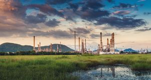 Landscape of Oil and Gas Refinery Manufacturing Plant., Petrochemical or Chemical Distillation Process Buildings., Factory of royalty free stock images