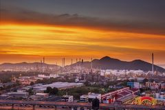 Landscape of Oil and Gas Refinery Manufacturing Plant., Petrochemical or Chemical Distillation Process Buildings., Factory of stock photography