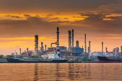 Landscape of Oil and Gas Refinery Manufacturing Plant., Shipping Dock and Chemical Distillation Process Buildings., Factory of. Power and Energy Industrial at stock image
