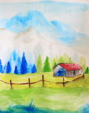 Watercolor Painting Landscape Royalty Free Stock Photo