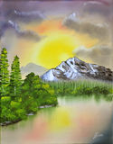 Landscape oil painting Stock Image