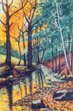 Landscape oil painting with river in autumn forest.  royalty free stock image