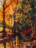 Landscape oil painting with river in autumn forest. Vintage structure background. royalty free illustration