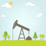 Landscape with oil pump Royalty Free Stock Images