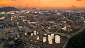 Landscape of oil refiery plant. Bird eye view, landscape of oil refiery plant, and chemical plant in Thailand, oil tank, oil storage, and pipeline royalty free stock photography