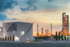 Landscape of oil refinery industry with oil storage tank Royalty Free Stock Image