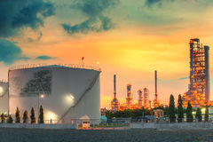 Landscape of oil refinery industry with oil storage tank. Stock Photography