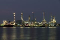 Landscape of oil refinery industry with oil storage tank in nigh Royalty Free Stock Photography