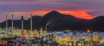 Landscape of oil refinery industry with oil storage tank stock photo