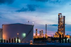 Landscape of oil refinery industry with oil storage tank in nigh
