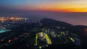 Landscape Oil refinery plant on night time Stock Photos