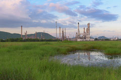 Landscape of oil refinery plant. Royalty Free Stock Image