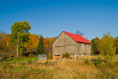 Landscape with an Old Barn. Autumn landscape with an old barn with red roof Royalty Free Stock Photography