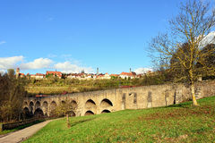 Landscape with old briedge in Rotenburg on Tauber Royalty Free Stock Images