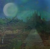 Landscape with old castle and moon Royalty Free Stock Photo