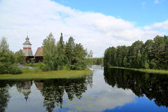 Landscape with the Old Church of Petajavesi, Finland Stock Photo