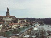 Landscape of the old city of Bern. Switzerland. You can see the Münster of Bern and the old building. You see also the river Aar royalty free stock photography