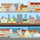 The landscape of the old city. Views of the old city. Street of the old town with a river. vector illustration