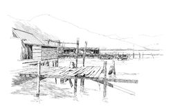 Landscape with old fishing village Stock Photo