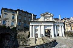 Landscape of the old gate named Porta San Giacomo, sunny day, Upper city Citta Alta, Bergamo, Italy. Bergamo, Italy - March 17, 2016 - Landscape of the old gate Royalty Free Stock Images
