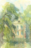 Landscape with old house, cityscape watercolor Stock Images