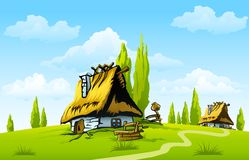 Landscape with old house in the village. Illustration Stock Photography