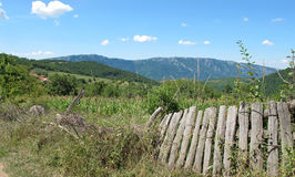 Landscape with old mountain fences Royalty Free Stock Images