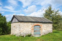 Landscape with old rustic stone barn Royalty Free Stock Photos