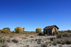 Landscape with Old Shack. An old ruined shack in a semi-desert landscape set against a blue cloudless sky near Green River, Utah, USA Stock Photos