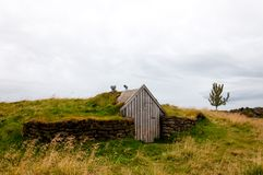 Landscape with old shack, Iceland Royalty Free Stock Photos